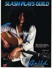 1992 Guild Acoustic Guitar Slash of Guns 'N Roses Vtg Print Ad