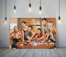 FRIENDS 2- FRAMED CANVAS WALL ART CLASSIC SHOW PICTURE PAPER PRINT- BROWN RED