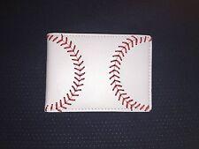 Youth Little League White Leather Baseball Bifold Wallet w/ Baseball Seam Stitch