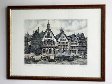Framed Signed Hand Colored Engravings of Roemerberg Square in Frankfurt Germany