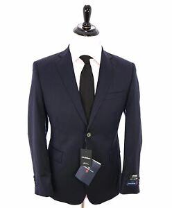 "$1,295 ERMENEGILDO ZEGNA -SAKS FIFTH AVENUE ""Classic"" SILK BLEND Navy Suit - 42L"