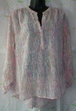 a567b4413a740 ANA pink animal print tab sleeve Medium henley blouse  58 sheer top pristine