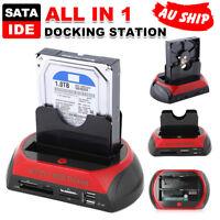 Hard Disk Drive Dock Dual 2.5″ 3.5″ SATA IDE HDD Docking Station OTB Card Reader