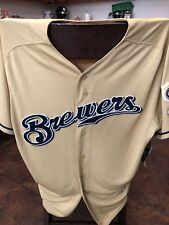 Authentic Majestic SIZE 48  MILWAUKEE BREWERS GOLD COOL BASE Jersey