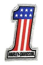Harley-Davidson Genuine #1 RWB Frayed Sew-On Emblem Patch, 4 x 2.5 in. HDEMF1012