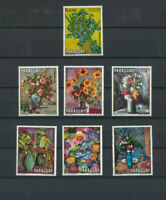 FLOWERS - Paraguay 1970 Mint  NH Set of 7 Different Flower Paintings on stamps