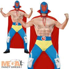 Mexican Wrestler Mens Fancy Dress WWE Fighter Novelty Sports Adults Costume