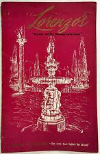 Vintage Huge Dinner Menu & Wine List LORENZO'S RESTAURANT Syracuse New York