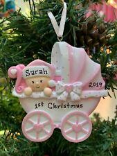 New 2020 Pink Stroller Baby'S Girls First Christmas Personalized Tree Ornament