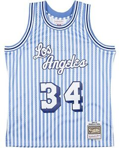 Striped 1996-97 Oneal Los Angeles Lakers Mitchell Ness Swingman Jersey