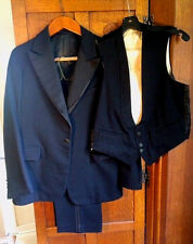Vintage 1929 Black 3 Piece Peak Lapel Tuxedo Suit, Shirt, Suspenders +Cuff Links