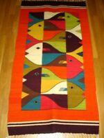 "Woven Rug 58 x 29"" Home Decor Orange Multi-Color Fish Rectangular Fringe EUC"