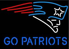 """New England Patriots Go Patriots Man Cave Neon Sign 17""""x14"""" Ship From Usa"""