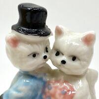 Vtg WHITE KITTENS Cat in Top Hat Wedding Anthropomorphic Trinket Box