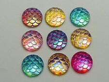 100 Mixed Colour AB Flatback Resin Fish Scale Pattern Round Cabochon 12mm