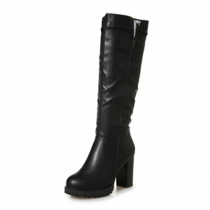 Punk Women Thick-Heeled Pu Leather Knee-High High Non-Slip Round-Toe Riding Boot