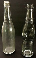 2 soda bottles Vintage Depression Canada Dry Ginger Ale & Hour glass Nu Grape