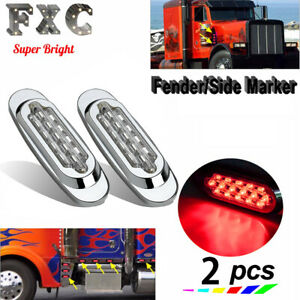 "2x 6.5"" 16 LED Side Marker Turn Signal Light For Peterbilt Mack Chrome Clear/Red"