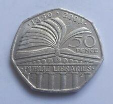 50p 2000 Public Libraries Commemorative Rare Fifty Pence 50p Coin - Circ VGC