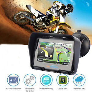 "Waterproof Motorcycle Car GPS Navigator 4.3"" Win CE 8GB Navigation + Update Map"