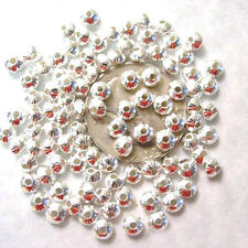 100 Bright Silver Plated Groovie Rondelle Beads 5MM