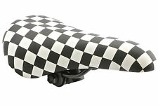 BLACK & WHITE CHEQUERED BMX SADDLE 80's RETRO OLD SCHOOL BMX MEDIUM SIZE SA9618
