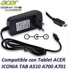 Cargador Recambio Para 12V Tablet Acer Iconia Tab ADP-18TB A510 A511 A700 A701
