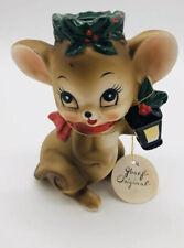 Vintage Josef Originals Christmas December Large Mouse Candle Holder 4.5� Tall