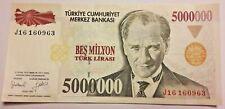 TURQUIE 5000000 5.000.000 Lire 1997 UNC P 210 Lirasi Türk