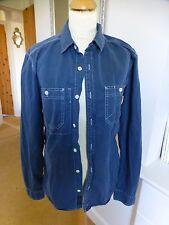 Men's ALL SAINTS Shirt Size Medium SLIM FIT Plain Blue with Collar.