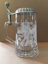Glass Beer Stein with Pewter Lid Sport Theme Excellent Condition Vintage Germany