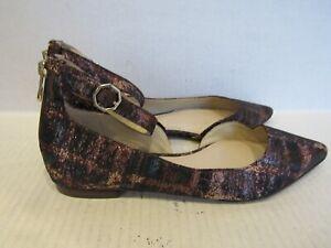 Louise et Cie Akio D'Orsay Flat Women's Shimmery Ankle Strap Zip Shoes 10M (40)