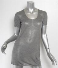 DOLCE&GABBANA Heather Gray Short Sleeve Scoop Neck Long T-Shirt Top 6-42 NEW