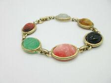"Nice Acrylic Scarab Bracelet Many Pretty Colors Gold Tone 7"""