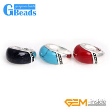 Trendy 13x23mm Beads Tibetan Silver Base Ring Free Gift Box 6 Materials Pick
