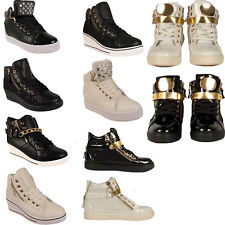 Ladies Wedge Heel Womens High Top Platform Ankle Boots Trainers Sneakers SIzes