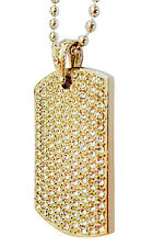 """Hip Hop 14k Gold Plated Iced CZ Dog Tag w/ Ball Chain Necklace 36"""""""