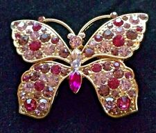 Butterfly Brooch/Pin - Signed Monet Gold Tone Pink Crystal