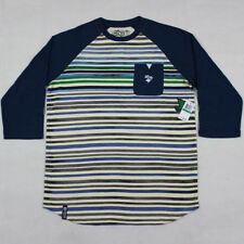 "L-R-G ""Squad Up"" Men's Striped Raglan 3/4 Sleeve Baseball Tee in Nautical Blue"