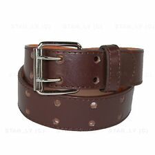 Mens Womens 2 Double Holes Dress Casual Leather Belt 2Prong S/M/L/XL BIG&TALL