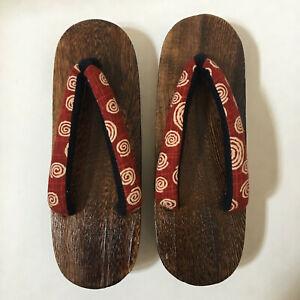 "Japanese Women Wooden Geta Sandals 9.75"" Japan Geisha Yukata Kimono Shoes Spiral"