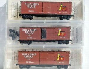 Hills Bros Coffee 3 x N Scale Kadee/Microtrains 40' Wood Sheathed Box Cars.