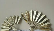 2 - Vintage Home Interior Shiny Brass Plate Decorative Wall Fans mint