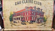 Antique Cigar Box Rare Antique Wooden The Eau Claire Club Wisconsin 1900s - WOW!