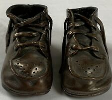 Vintage Mid Century Genuine Bronzed Copper Dipped Baby Shoes Booties