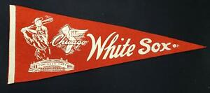 """1950s Chicago White Sox 29-1/8"""" Red Felt Pennant w/Comiskey Park and Wing Logo"""