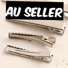 10 X 45mm :: QUALITY :: Silver Metal Plain Hair Clips Alligator DIY Gift