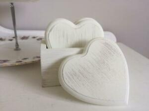 Shabby Country Style Chic Set of 4  White Washed  Heart Coasters in Storage Tray