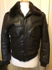 Leather FLIGHT / BOMBER Jacket - BROWN  Sz 40 Made in USA
