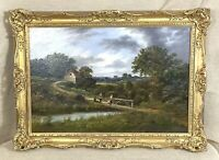 1878 Antique Oil Painting British Old Master Landscape Edward Alfred Atkyns